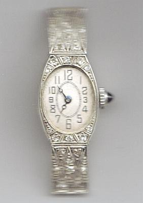 Antique Ladies Wristwatch Diamond Platine With A Goat