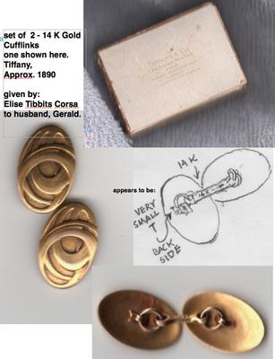 gold cufflinks, tiffany box, sketch