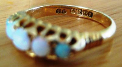 Hallmarks on 1849 Birmingham ring for comparison