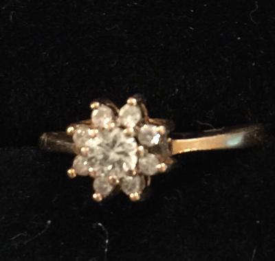 Russian gold flower cluster ring