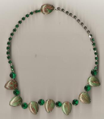 Rhinestone Costume Jewelry Necklace - Green Stone Gold Foil Necklace