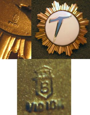 letter b and v10 10k gold markings