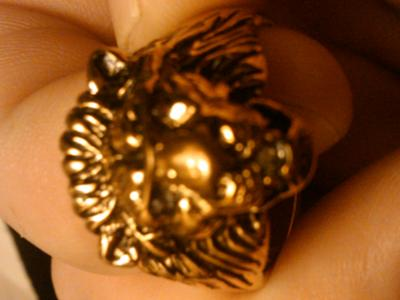 lion head gold ring with red ruby eyes and diamond in mouth