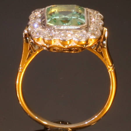 antique diamond and aquamarine engagement ring