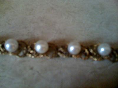 CECIL signed 14K gold and pearl bracelet