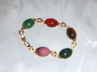 14K GOLD SCARAB BRACELETS - WIDE LINKS AND GENUINE GEMSTONES