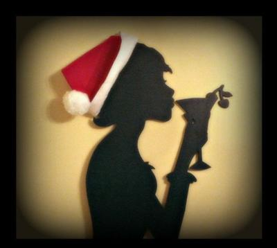 Her silhouette minus the martini glass and xmas hat