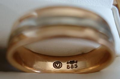 pair of german rose gold wedding bands