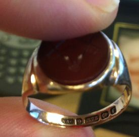 Red Gold Masonic Ring with Engraved Stone, Possibly Garnet