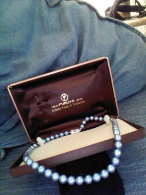 Single Strand Of Blue Pearls From Furuya Tokyo Japan