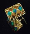 Lightning Ridge Black Opal Cufflinks 14k Gold