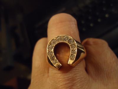 Vintage Deco Style Rhinestone Cluster Horseshoe Design Ring