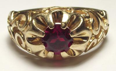Mens Gold Ring With A C In A Circle And A Sun Star